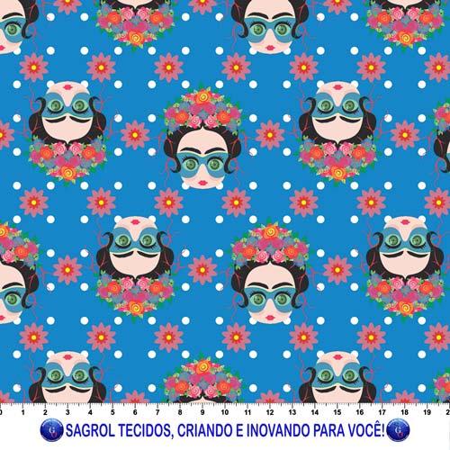TRICOLINE ESTAMPA DIGITAL FRIDA BONECAS GRACINHAS FUNDO AZUL - 100% ALGODÃO COM 1,50 LG