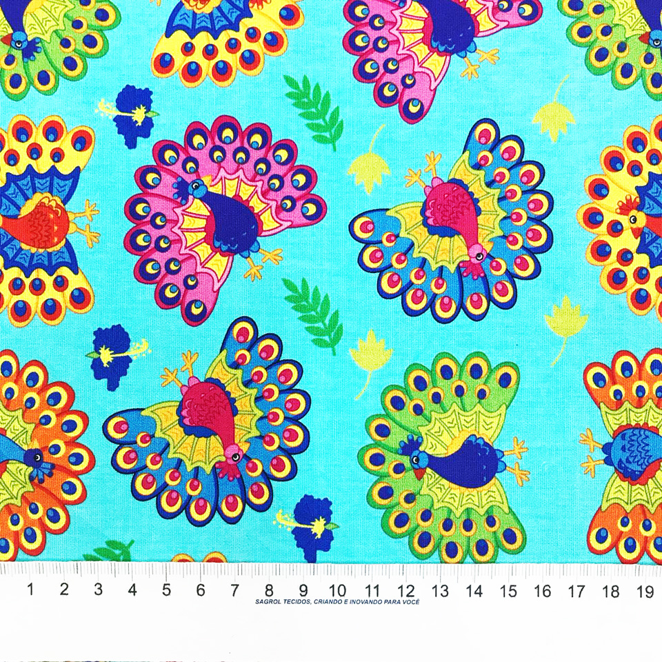 TRICOLINE ESTAMPA DIGITAL PAVÃO FUNDO TIFFANY