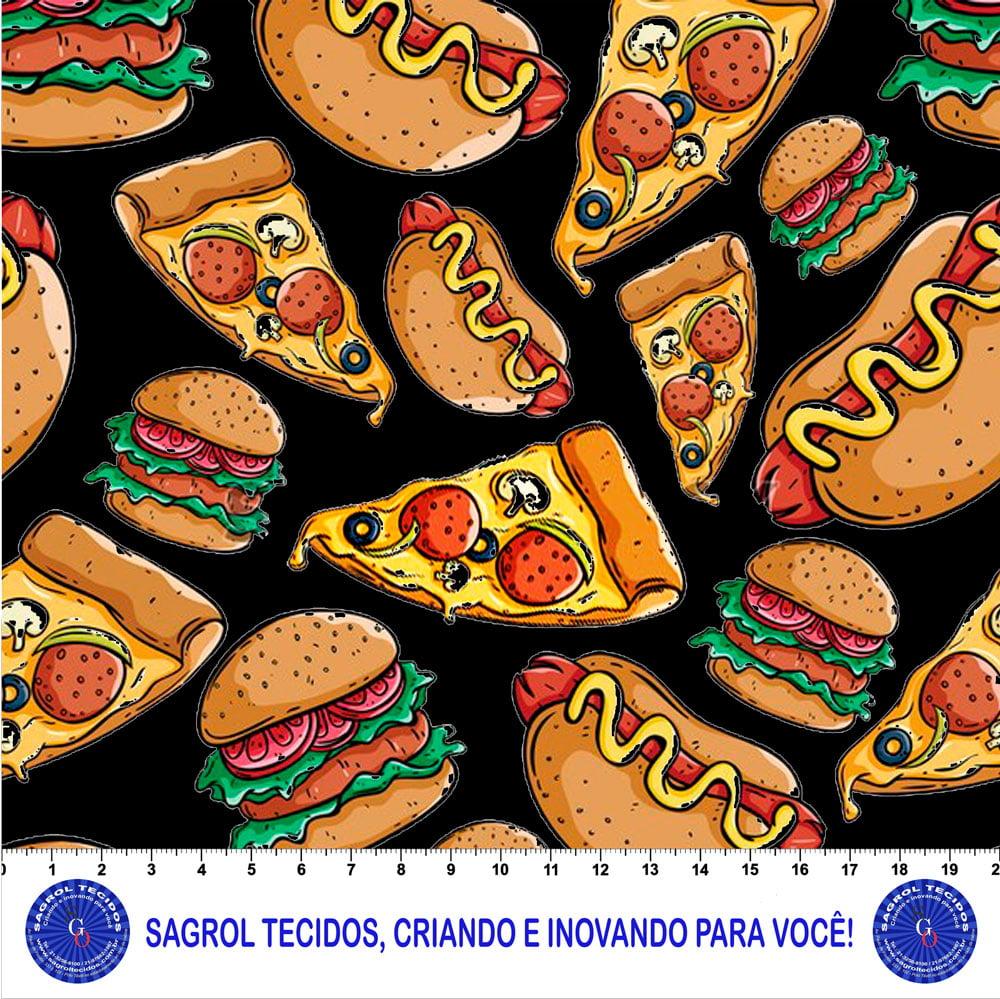 TRICOLINE ESTAMPA DIGITAL HAMBURGUER, HOT DOG E PIZZA FUNDO PRETO 100% ALGODÃO COM 1,50 LG