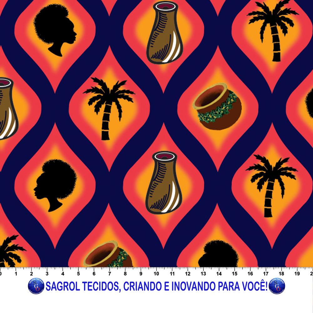 TRICOLINE ESTAMPA DIGITAL AFRICANA 100% ALGODÃO COM 1,50 LG