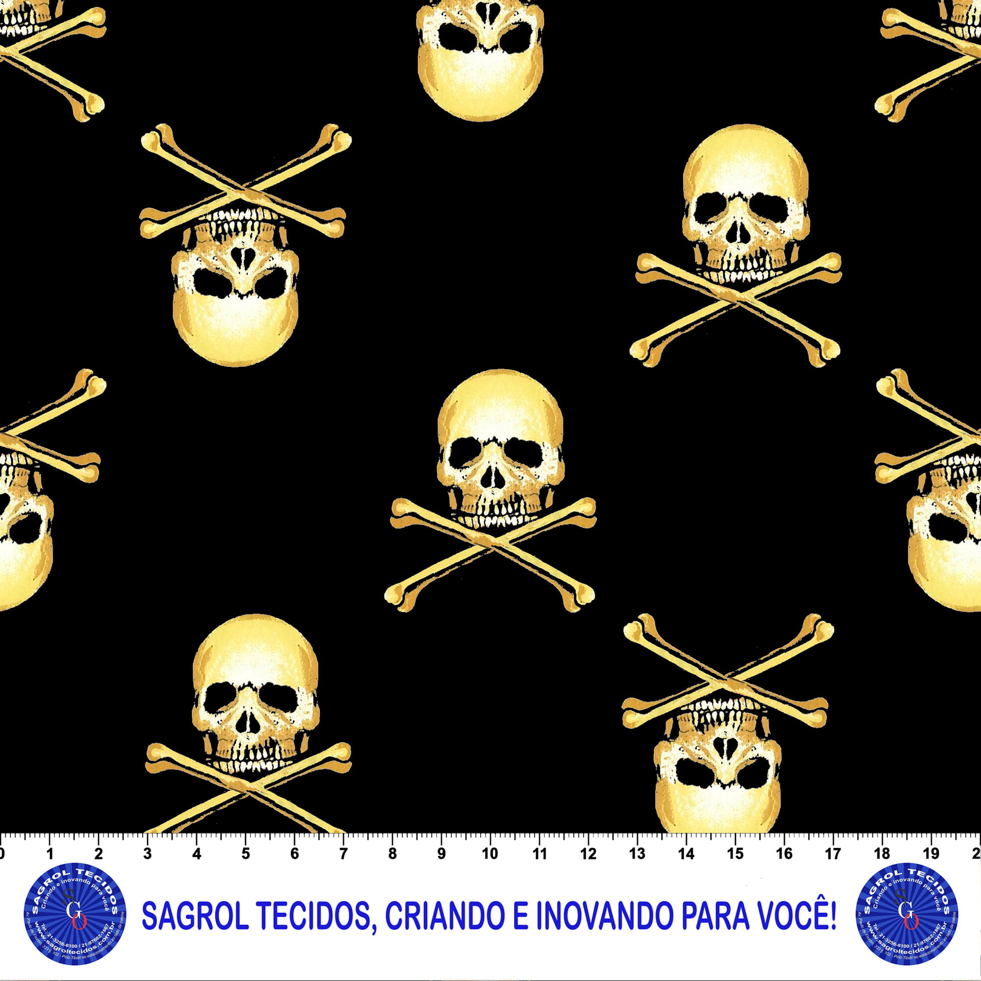TRICOLINE ESTAMPA DIGITAL CAVEIRÃO 100% ALGODÃO COM 1,50 LG