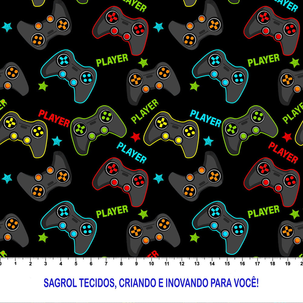 TRICOLINE ESTAMPA DIGITAL GAMES FUNDO PRETO 100% ALGODÃO COM 1,50 LG
