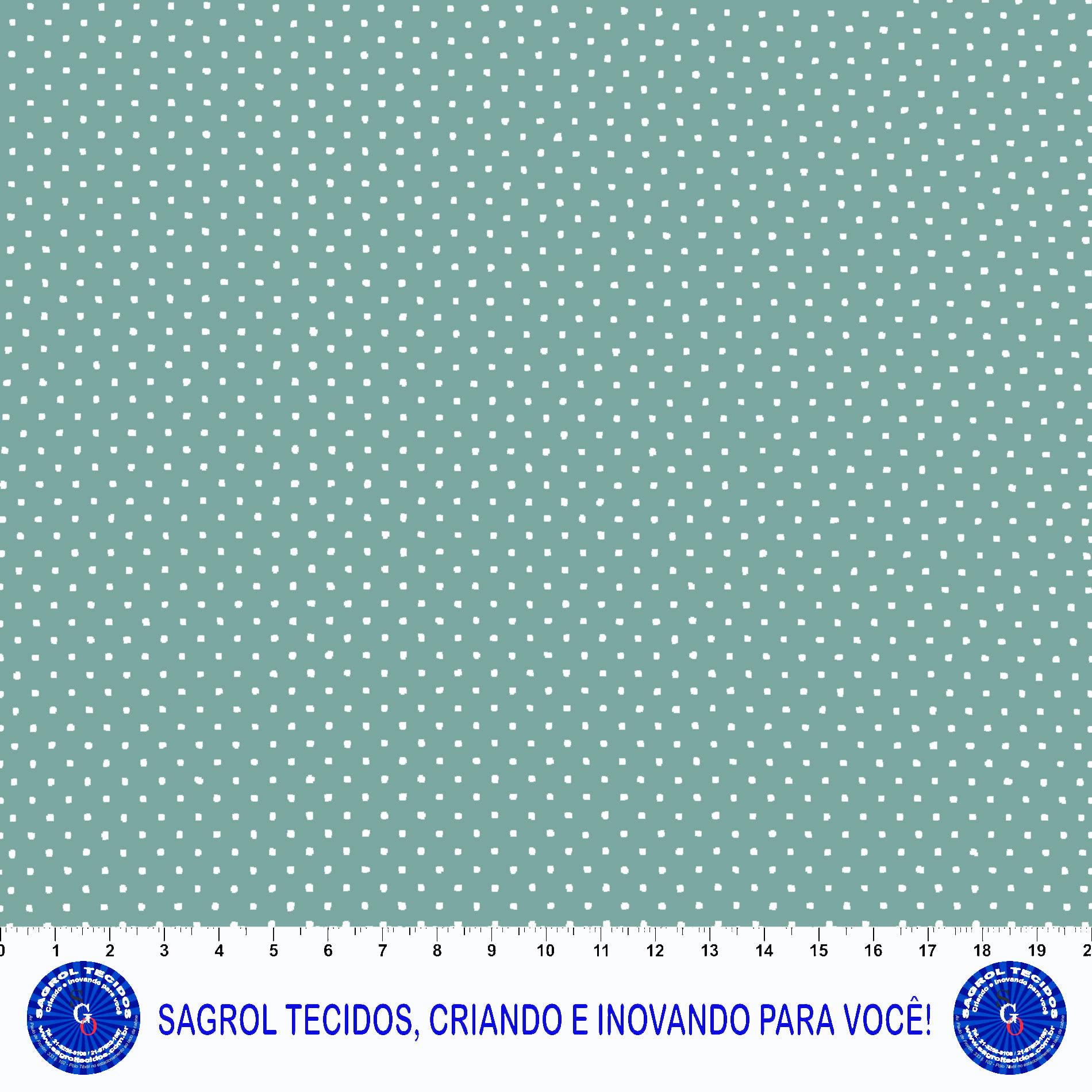 TECIDO TRICOLINE ESTAMPA POÁ BRANCO FUNDO VERDE 100%ALGODÃO COM 1,50 LG 5EED93FFAA995