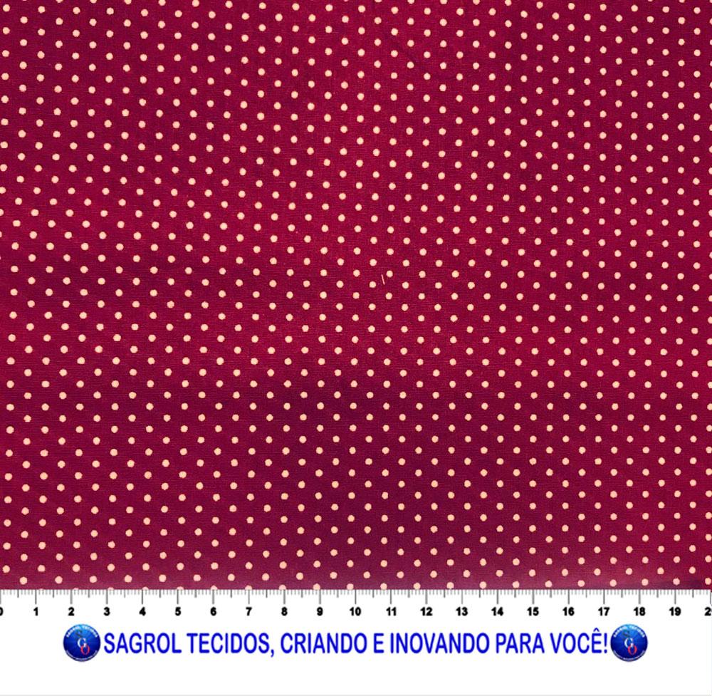 TECIDO TRICOLINE ESTAMPADA POÁ ALFINETE BEGE FUNDO VINHO 2MM - REF. 571