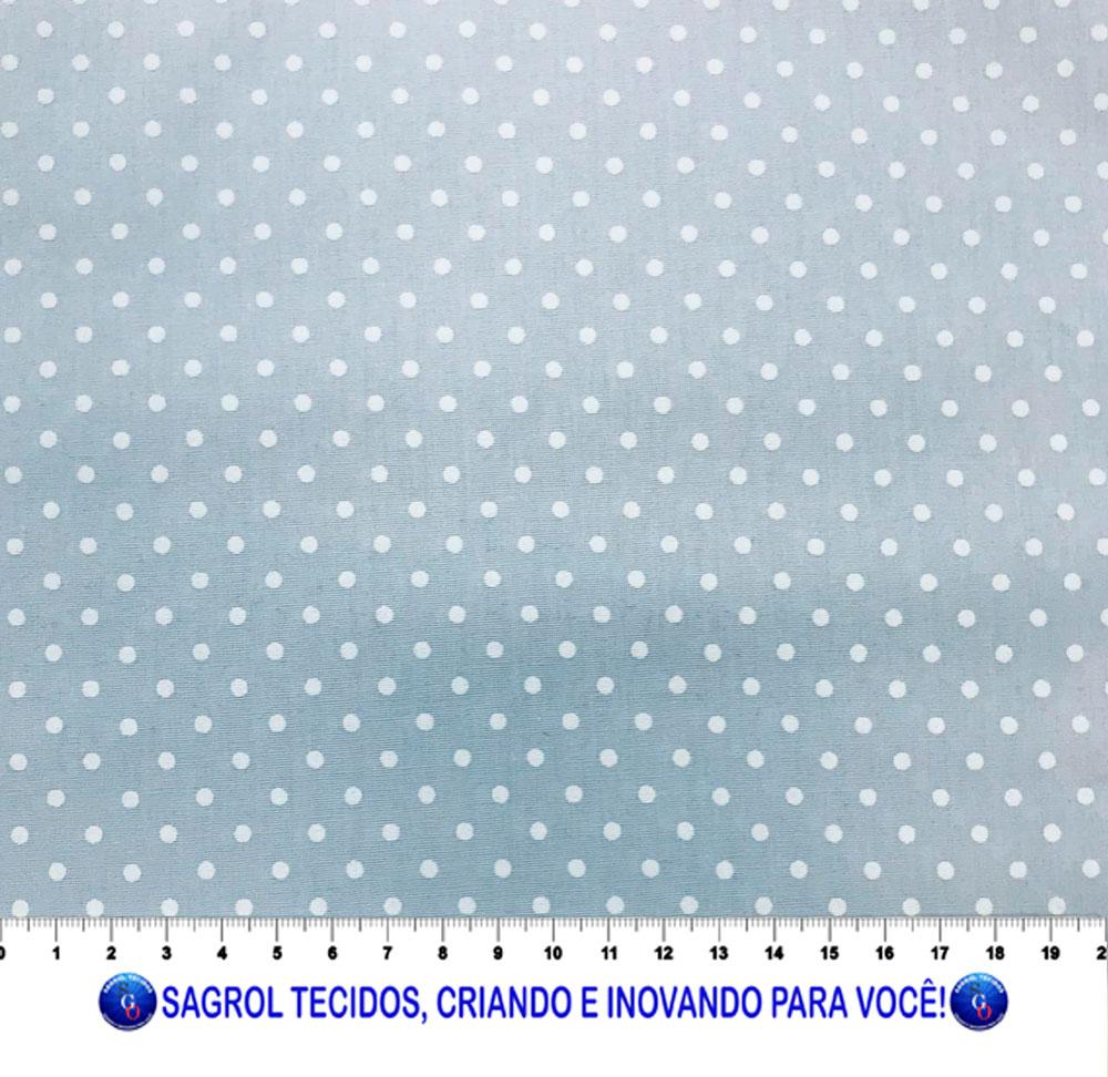 TECIDO TRICOLINE ESTAMPA POÁ ALFINETE BRANCO FUNDO AZUL BEBÊ 3MM 100% ALGODÃO COM 1,50 LG