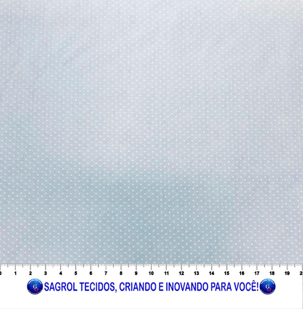TECIDO TRICOLINE ESTAMPADA POÁ ALFINETE BRANCO FUNDO BRANCO 1MM - REF. 567