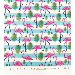 TRICOLINE ESTAMPA DIGITAL FLAMINGOS COM LISTRAS