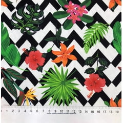 TRICOLINE ESTAMPA DIGITAL FLORAL COM CHEVRON