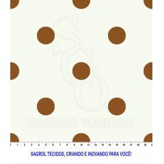 TECIDO BOXER SARJA LEVE ESTAMPA DIGITAL POÁ 25 MM TERRA COTA FUNDO MARFIM 100% ALGODÃO COM 1,44 LG