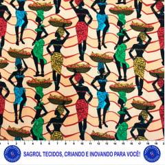 TRICOLINE ESTAMPA DIGITAL AFRICANAS COM CHEVRON 100% ALGODÃO COM 1,50 LG