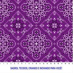 TRICOLINE ESTAMPA DIGITAL BANDANA ROXO 100% ALGODÃO COM 1,50 LG