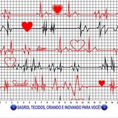 TRICOLINE ESTAMPA DIGITAL (ECG ) ELETROCARDIOGRAMA FUNDO BRANCO 100% ALGODÃO COM 1,50 LG