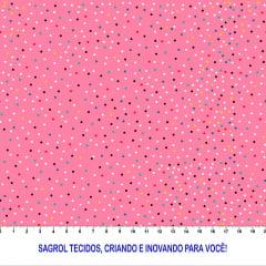 TRICOLINE ESTAMPA DIGITAL POÁ COLORIDO FUNDO ROSA 100% ALGODÃO COM 1,50 LG