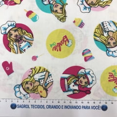 TECIDO TRICOLINE ESTAMPA BARBIE COZINHEIRA 100% ALGODÃO COM 1,50 LG