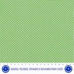 TECIDO TRICOLINE ESTAMPA POÁ BRANCO FUNDO VERDE MAÇÃ 100%ALGODÃO COM 1,50 LG 5EED94ADD0954
