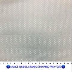 TECIDO TRICOLINE ESTAMPADA POÁ ALFINETE FUNDO CINZA 1MM - REF. 564