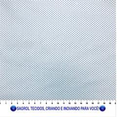 TECIDO TRICOLINE ESTAMPADA POÁ ALFINETE MARINHO FUNDO BRANCO 1MM - REF. 565