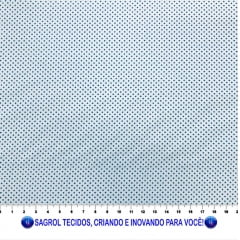 TECIDO TRICOLINE ESTAMPADA POÁ ALFINETE ROYAL FUNDO BRANCO 1MM - REF. 566