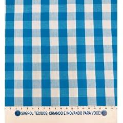 TECIDO SARJA FIO TINTO ESTAMPA XADREZ AZUL - 100% ALGODÃO