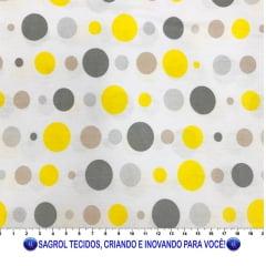 TECIDO TRICOLINE ESTAMPA BOLAS 100% ALGODÃO COM 1,50 LG - REF. 838
