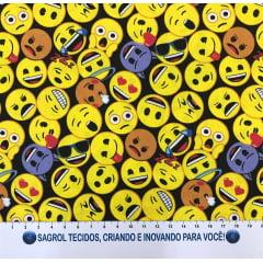 TECIDO TRICOLINE EMOTIONS FUNDO PRETO 100% ALGODÃO COM 1,50 LG