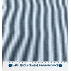 TECIDO TRICOLINE FIO-TINTO LISTRAS D. JUAN - AZUL MARINHO - REF. 692