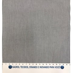 TECIDO TRICOLINE FIO-TINTO LISTRAS D. JUAN PRETA - REF. 694