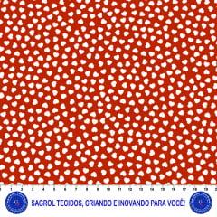 TECIDO TRICOLINE ESTAMPA CORAÇÕES BRANCO FUNDO VERMELHO 100% ALGODÃO COM 1,50 LG