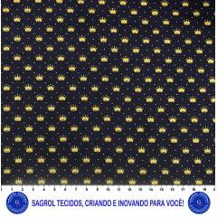 TECIDO TRICOLINE ESTAMPA COROAS DOURADAS FUNDO MARINHO 100% ALGODÃO COM 1,50 LG 5EE6A8D023C2E