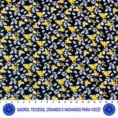 TECIDO TRICOLINE ESTAMPA FLORES FUNDO PRETO 100% ALGODÃO COM 1,50 LG 5EE6A9F82D74C