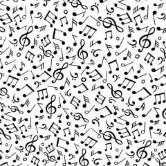 TECIDO TRICOLINE ESTAMPA NOTA MUSICA PRETO FUNDO BRANCO 100% ALGODÃO COM 1,50 LG