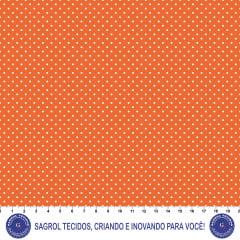 TECIDO TRICOLINE ESTAMPA POÁ ALFINETE BRANCO FUNDO LARANJA 100% ALGODÃO COM 1,50 LG