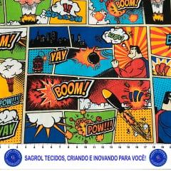 TECIDO TRICOLINE ESTAMPA SUPERMAN EM QUADRINHOS 100% ALGODÃO COM 1,50 LG