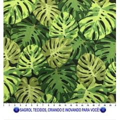 TECIDO TRICOLINE ESTAMPA COSTELA DE ADÃO FUNDO PRETO 100% ALGODÃO COM 1,50 LG