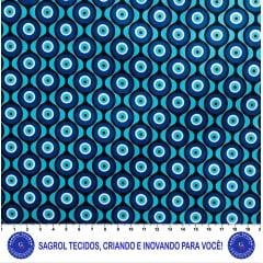 TECIDO TRICOLINE ESTAMPADA OLHO GREGO 100% ALGODÃO COM 1,50 LG