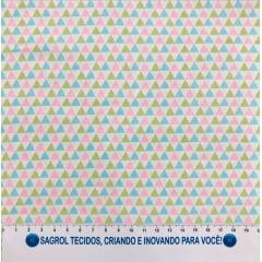 TECIDO TRICOLINE ESTAMPA TRIÂNGULOS YOLE 100% ALGODÃO COM 1,50 LG - REF. 768
