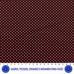 TECIDO TRICOLINE POÁ VERMELHO CONFETE 7MM FUNDO PRETO 100% ALGODÃO COM 1,50 LG