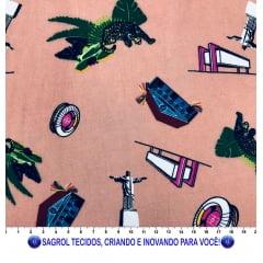 TECIDO VISCOSE ESTAMPADA PONTOS TURÍSTICOS RIO 100% VISCOSE COM 1,40 LG