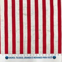 TECIDO VISCOSE SARJADA COM LISTRAS VERMELHA E BRANCA - REF. 378