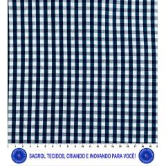 TECIDO TRICOLINE FIO-TINTO VICHY XADREZ 9XM - MARINHO - 100% ALGODÃO COM 1,50 LG - REF. 708