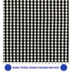 TECIDO TRICOLINE FIO-TINTO VICHY XADREZ 9XM - PRETO - 100% ALGODÃO COM 1,50 LG - REF. 709