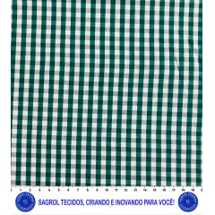TECIDO TRICOLINE FIO-TINTO VICHY XADREZ 9XM - VERDE BANDEIRA - 100% ALGODÃO COM 1,50 LG