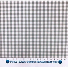 TECIDO TRICOLINE FIO-TINTO VICHY XADREZ 9XM - CINZA - 100% ALGODÃO COM 1,50 LG - REF. 711