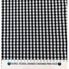 TECIDO TRICOLINE FIO-TINTO VICHY XADREZ 8XM - PRETO - 100% ALGODÃO COM 1,50 LG - REF. 713