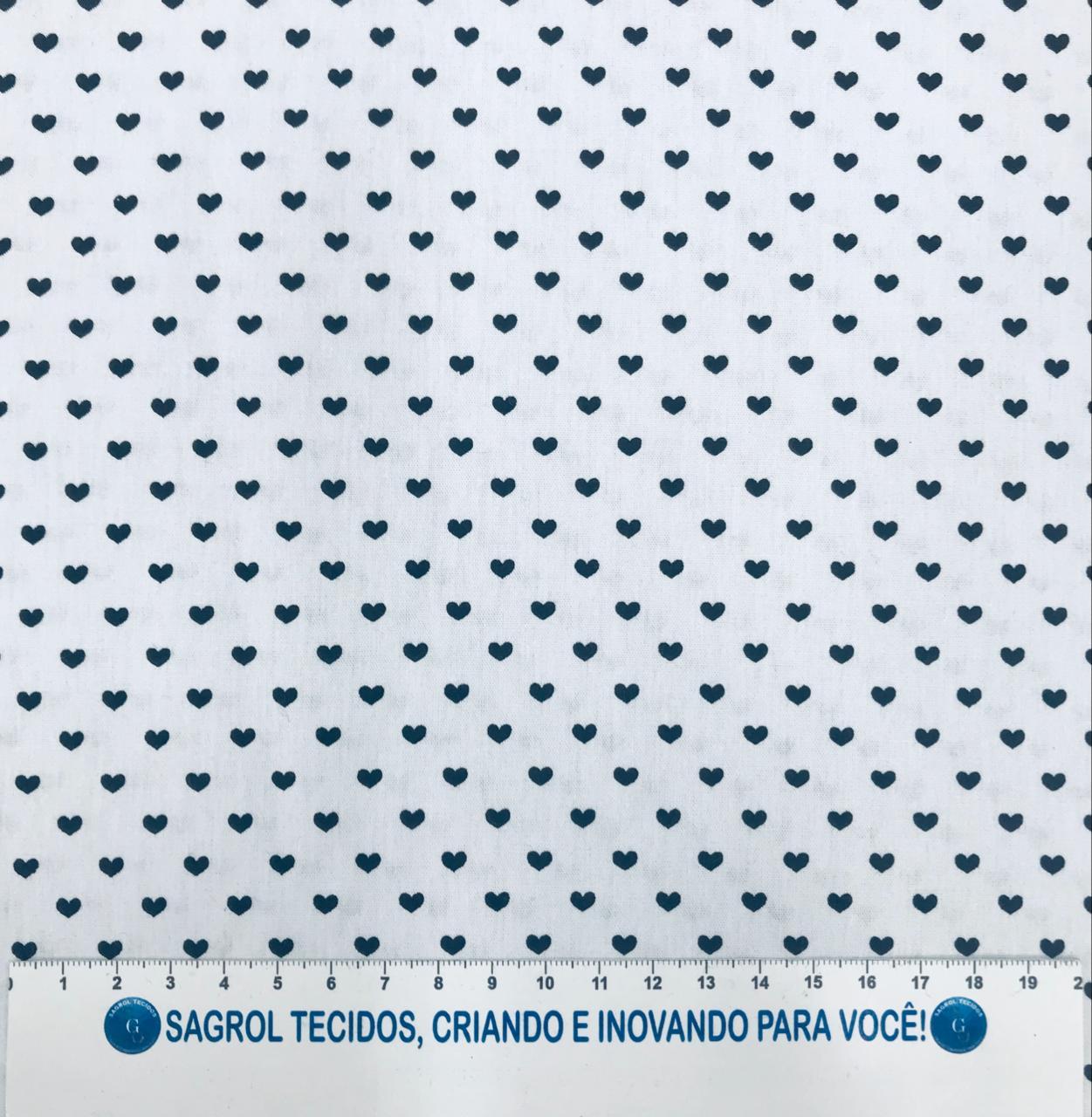 TECIDO TRICOLINE ESTAMPA CORAÇÕES PRETO FUNDO BRANCO 100% ALGODÃO COOM 1,50 LG - REF. 595
