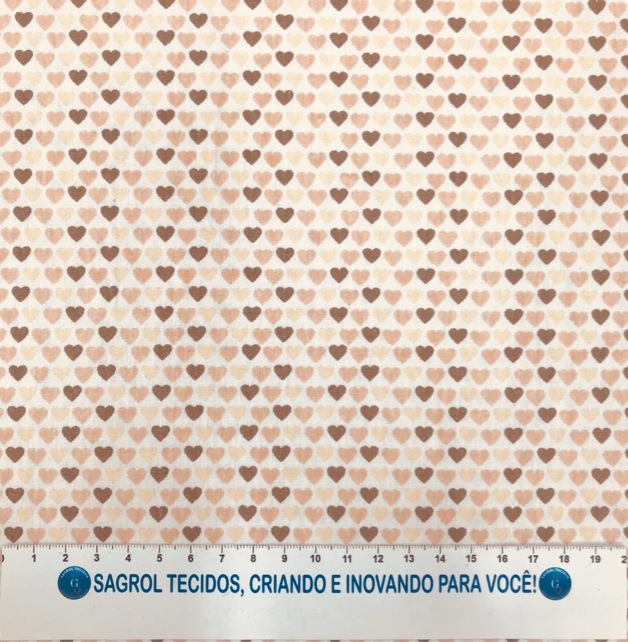 TECIDO TRICOLINE ESTAMPA CORAÇÕES 100% ALGODÃO COM 1,50 LG- REF. 597