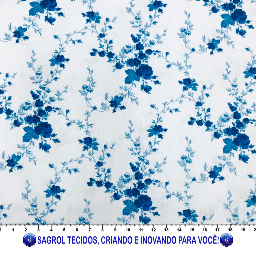 TECIDO TRICOLINE ESTAMPA FLORAL AZUL 100% ALGODÃO COM 1,50 LG - REF. 836