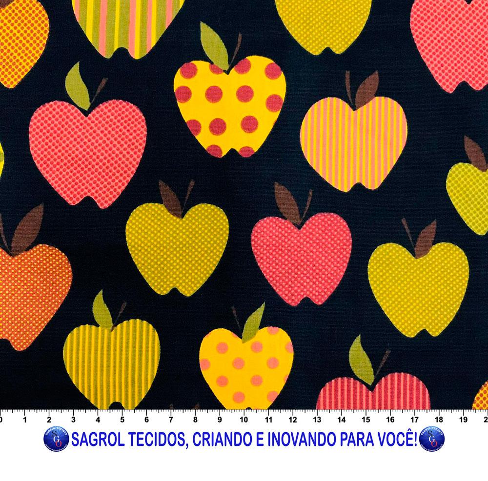 TECIDO TRICOLINE ESTAMPADA MAÇAS FUNDO MARINHO 100% ALGODÃO COM 1,50 LG
