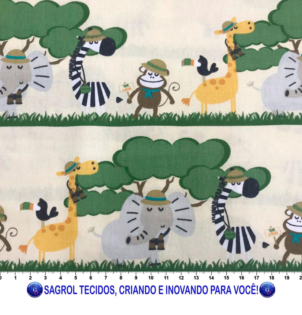 TECIDO TRICOLINE ESTAMPADA FAIXA SAFARI 100% ALGODÃO COM 1,50 LG