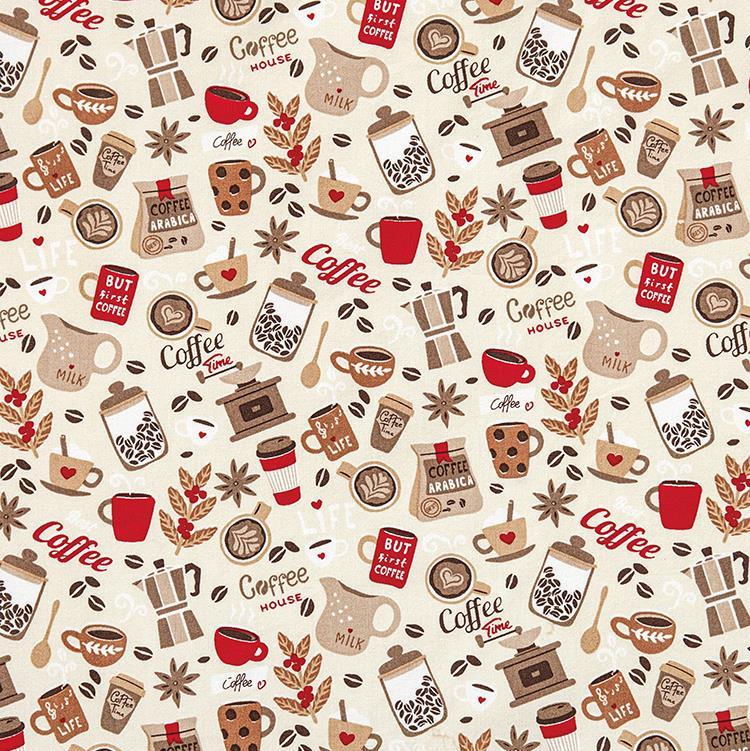 TECIDO TRICOLINE CAFÉ (COFFEE) FUNDO BEGE 100% ALGODÃO COM 1,50 LG